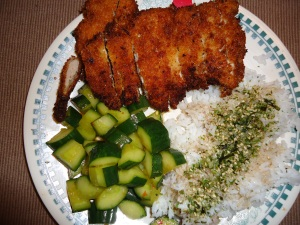 Chicken Katsu, my quick Cucumber Kim Chee and steamed white rice with Furikake and Soy Sauce