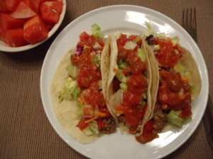 Lean Ground Turkey Tacos on warmed Flour Tortillas